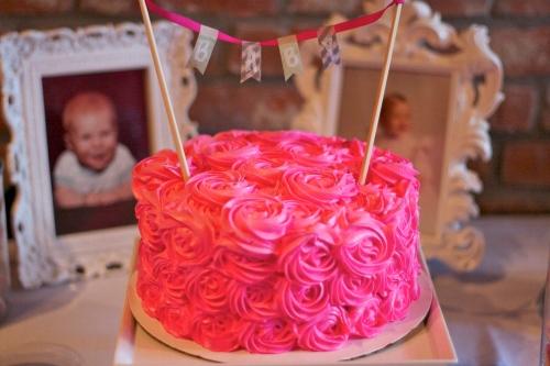 pink rosette baby shower cake