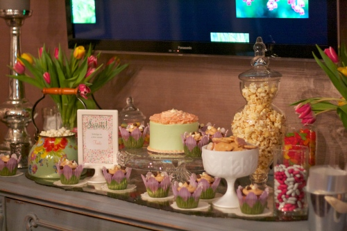 garden baby shower sweets table