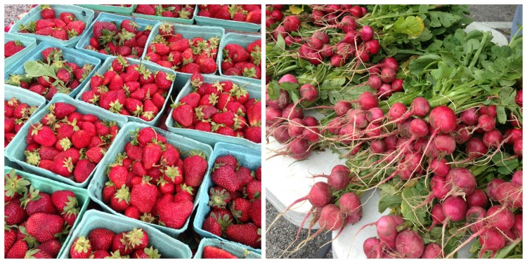 farmers market strawberries radishes