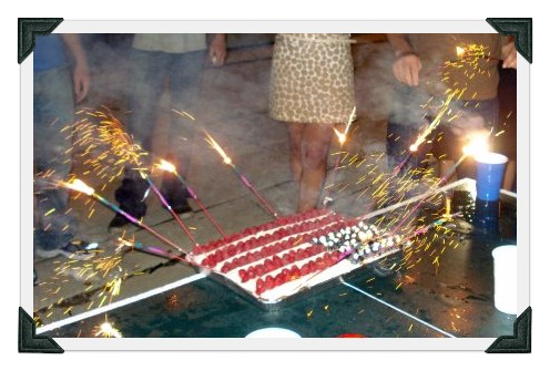 4th of July cake, sparklers, independence day