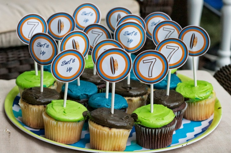 surfing birthday party cupcake toppers