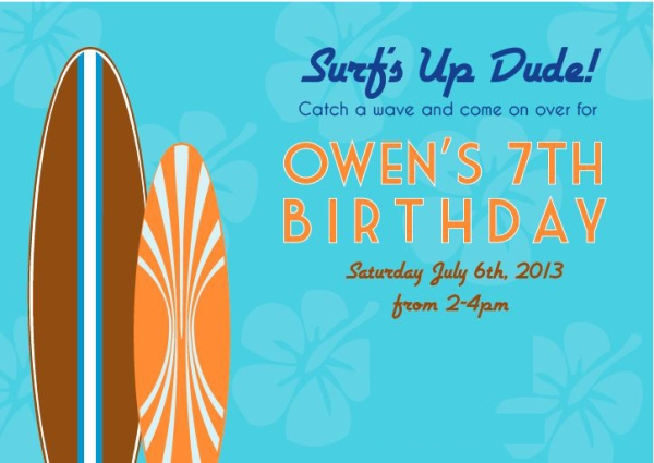 surfing birthday party invitation