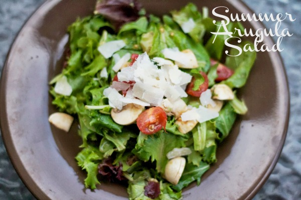 summer arugula salad with balsalmic and parmesan