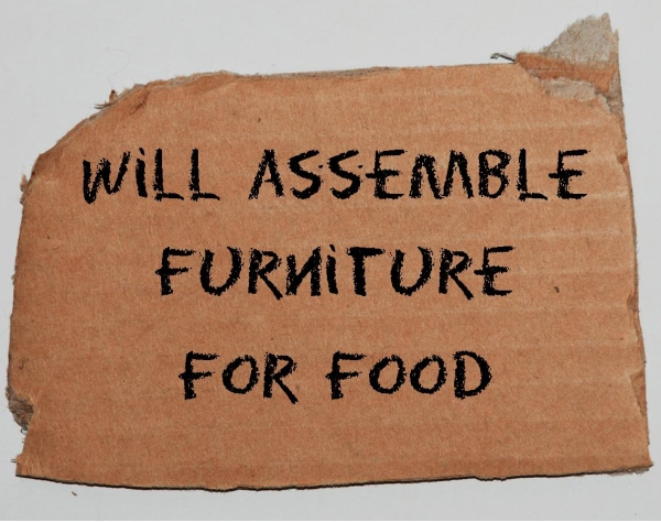 will assemble furniture for food sign