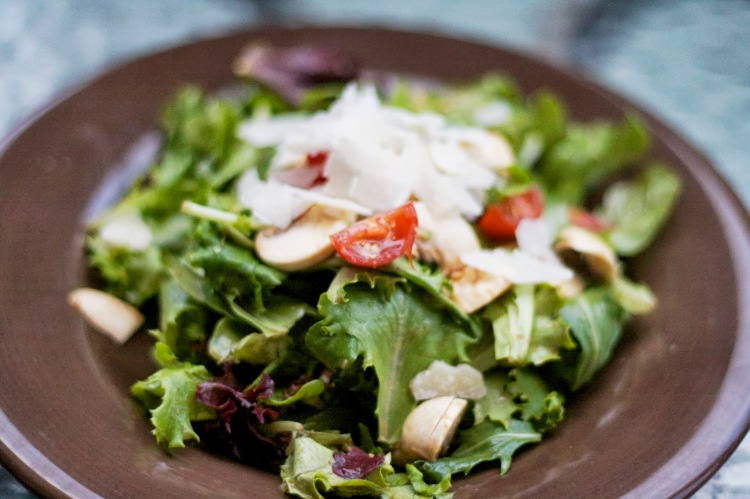 summer arugula salad with balsalmic and parmesan