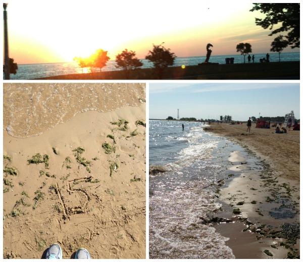 sunrise lake michigan chicago running