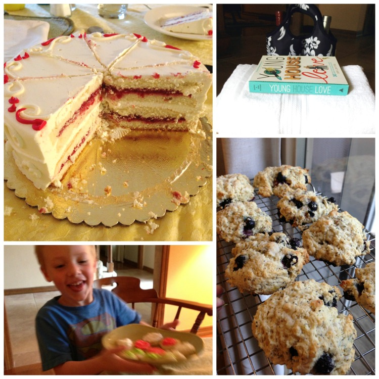 incredibly delicious vanilla strawberry cake, thumbprint cookies, young house love book, blueberry lemon poppyseed scones