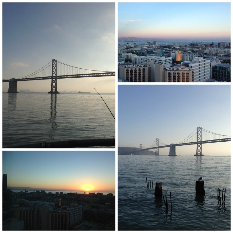 san francisco, bay bridge, sunrise, sunset