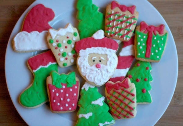 royal icing christmas sugar cookies, santa cookies, present cookies, holiday iced sugar cookies