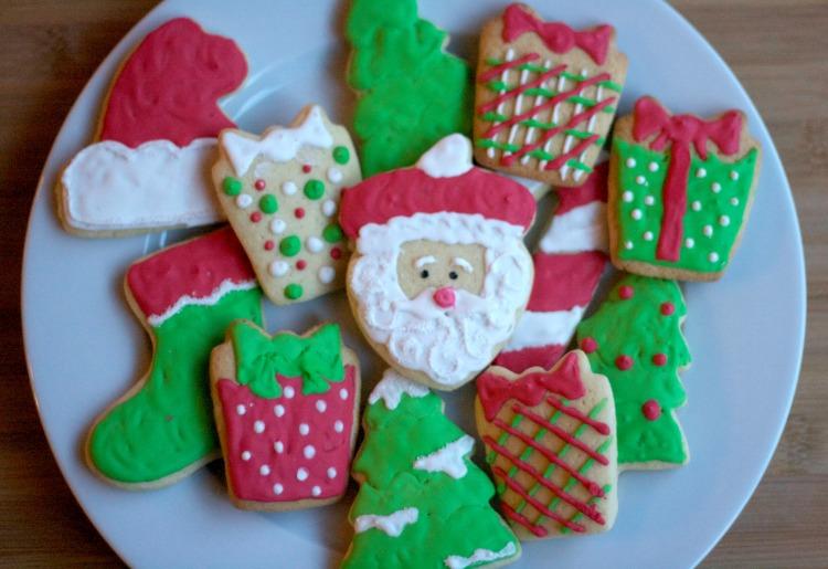 royal icing christmas sugar cookies, santa cookies, present cookies, holiday iced sugar cookies