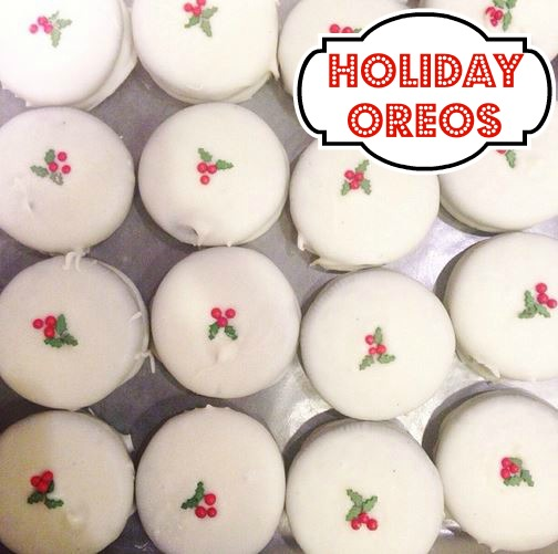 holiday white chocolate oreo cookies with holly sprinkles