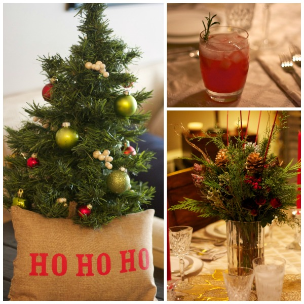 holiday party tablescape, mini christmas tree, holiday punch