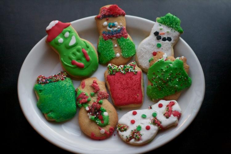 kids royal icing christmas sugar cookies, present cookies, snowman cookies, holiday iced sugar cookies by kids