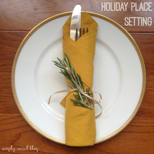simple holiday place setting, rosemary napkin, ribbon-tied napkin, holiday china, thanksgiving place setting