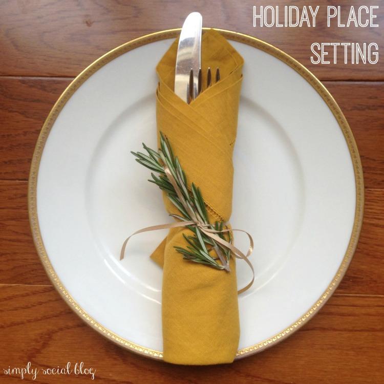 simple holiday place setting, rosemary napkin, ribbon-tied napkin, holiday china, thanksgiving place setting