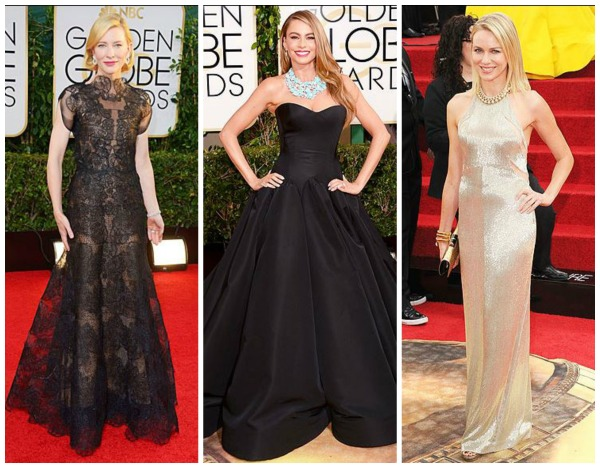 golden globe dresses, cate blanchett, sofia vergara, naomi watts, best dressed, simply social blog