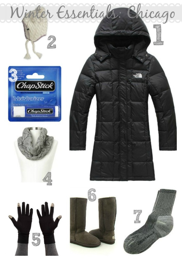cold weather essentials, winter outerwear for chicago, winter outfits, northface parka, ugg boots, smartwool socks, brisk run gloves, northface hat