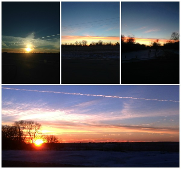 winter sunset, midwest skies, Illinois sunset, colors of winter, winter sky
