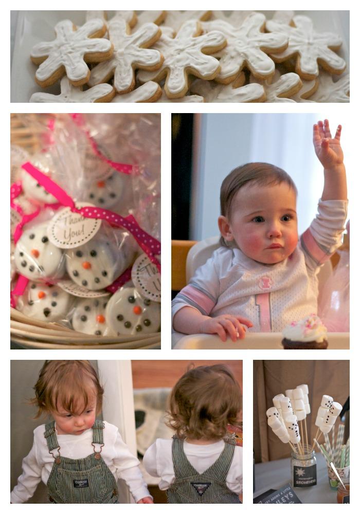 winter onederland birthday party, first birthday party winter theme, snowman oreos, snowman marshmallows, iced snowflake sugar cookies, birthday party ideas,