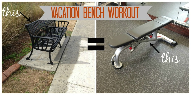vacation workout tips, travel workout tips, bench workout, park bench dips, workout wednesday, simply social blog