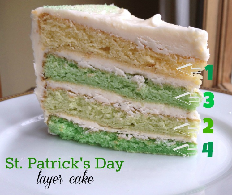 st. patricks day layer cake, ombre layer cake, white birthday cake, buttercream icing, colored layer cake, st. patrick's day, holiday, baking,