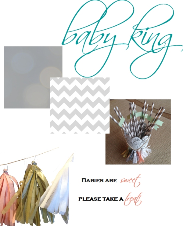 gender neutral baby shower ideas, chevron, gray and white baby shower, paper straws, tassel garland, bokeh