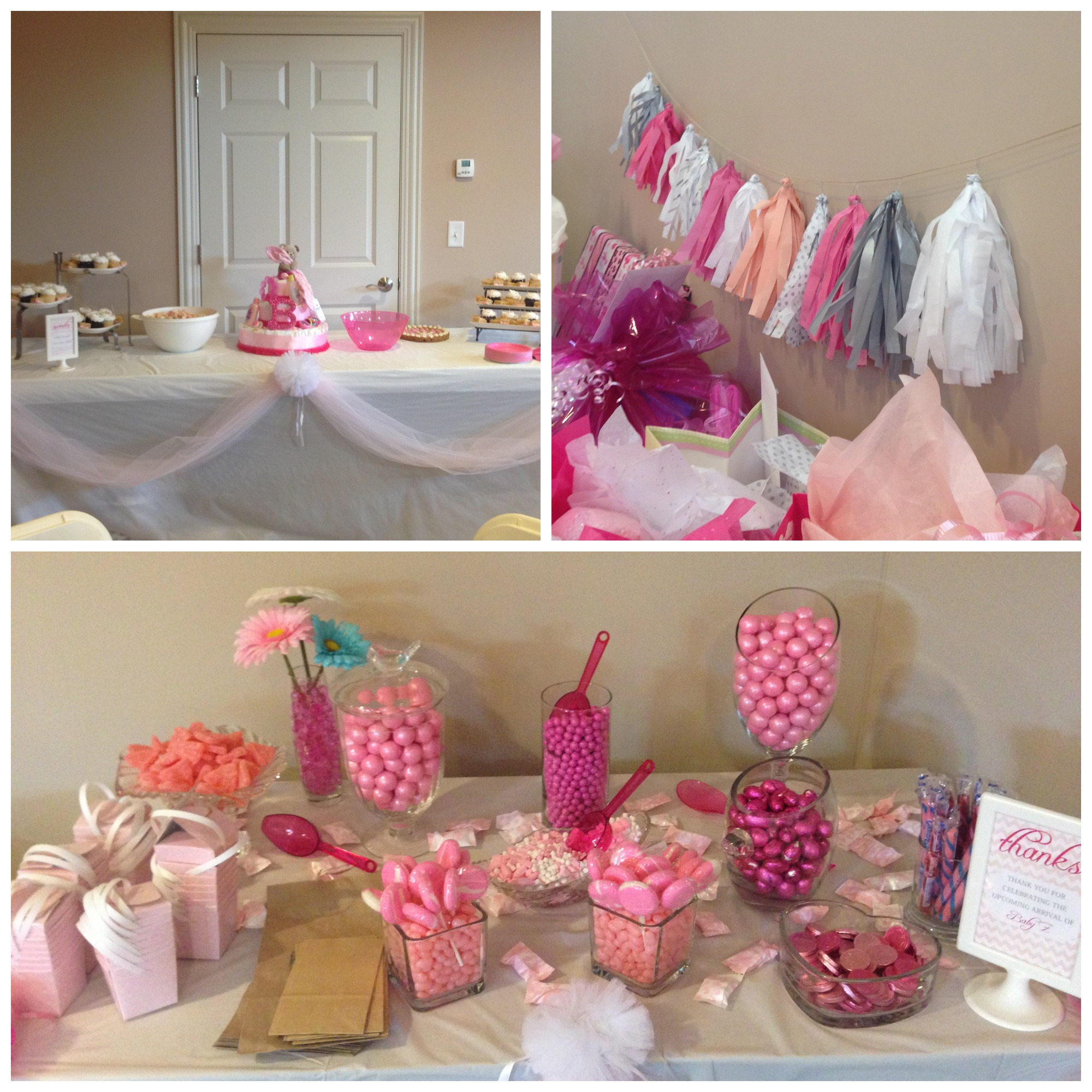girls baby shower tassel garland candy bar sweets table diaper