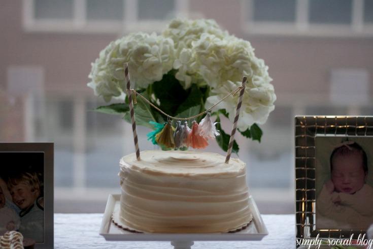 gender neutral baby shower, baby king, gray baby shower, sweets table, cake table, pleated cake, mini tassel garland cake topper, tassel garland,