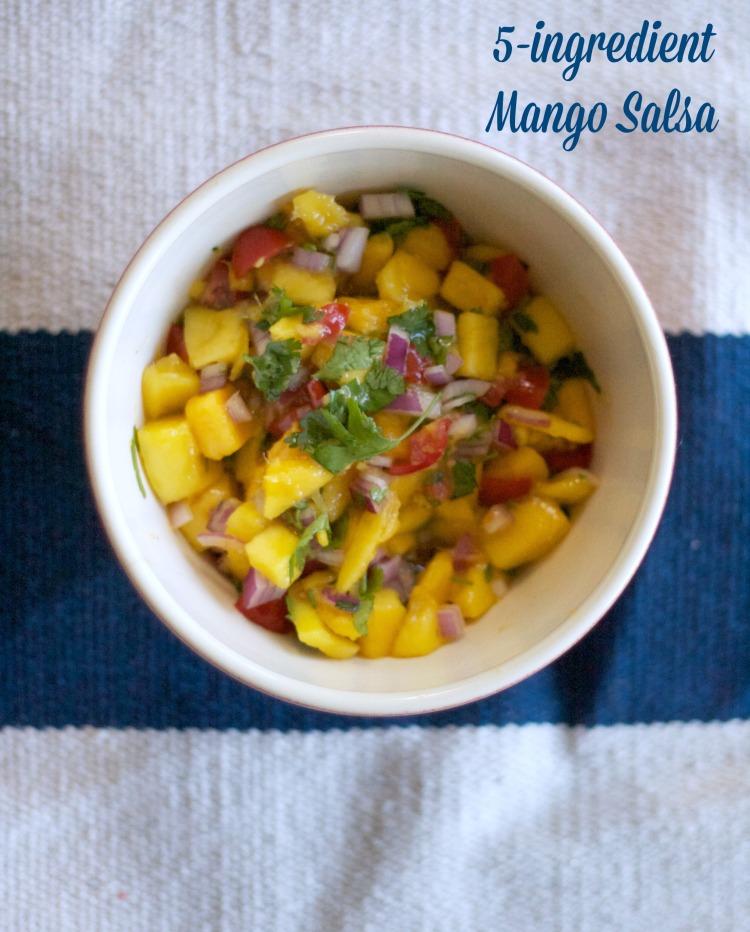 mango salsa, 5 ingredient mango salsa, easy salsa recipe, fruit salsa, spring, summer