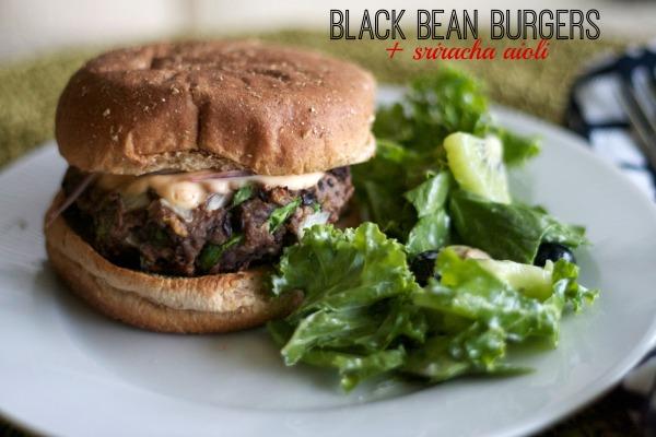 black bean burgers, cooking light, summer recipes, sriracha aioli, burger recipes,