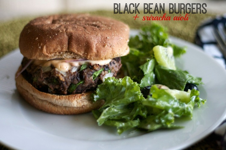 black bean burgers, cooking light, summer recipes, sriracha aioli, burger recipes,