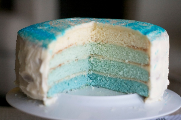 birthday layer cake, ombre layer cake, white birthday cake, buttercream icing, blue ombre layer cake, birthday, holiday, baking,