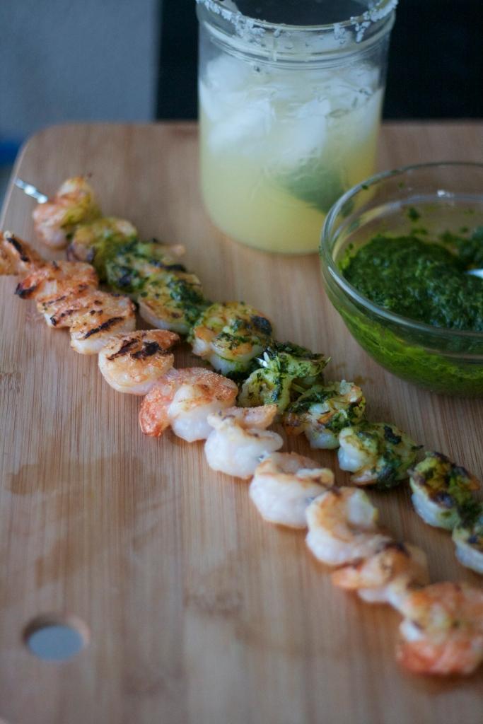 grilled shrimp with chimichurri, parsley, cilantro pesto, marinated shrimp recipe, herb pesto, dinner, grilling, summer recipes, two ingredient margarita, shrimp tostadas