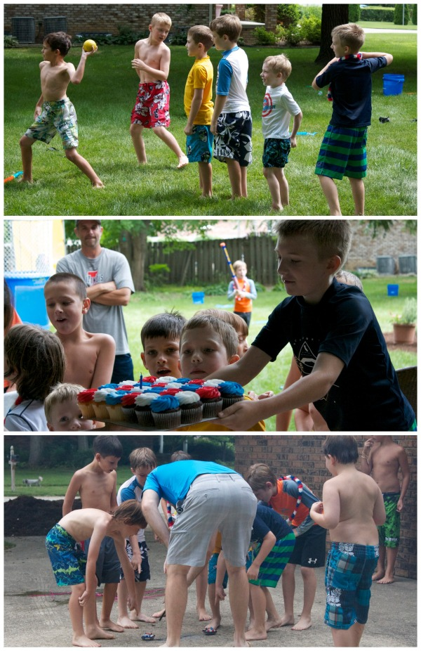 owen's 8th birthday, golden birthday, red white and blue themed party, fourth of july birthday party ideas, water sports, dunk tank, firework birthday party, boy birthday party ideas, cotton candy
