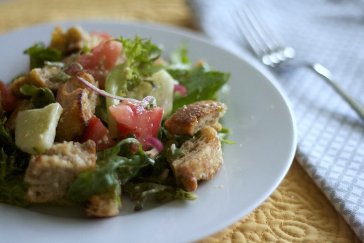 panzanella salad recipe, salad, italian, bread, summer, vinaigrette, recipes,