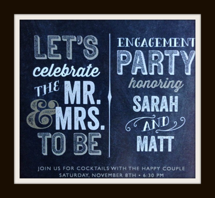 engagement, invitation, slate, white and gold engagement party invitation