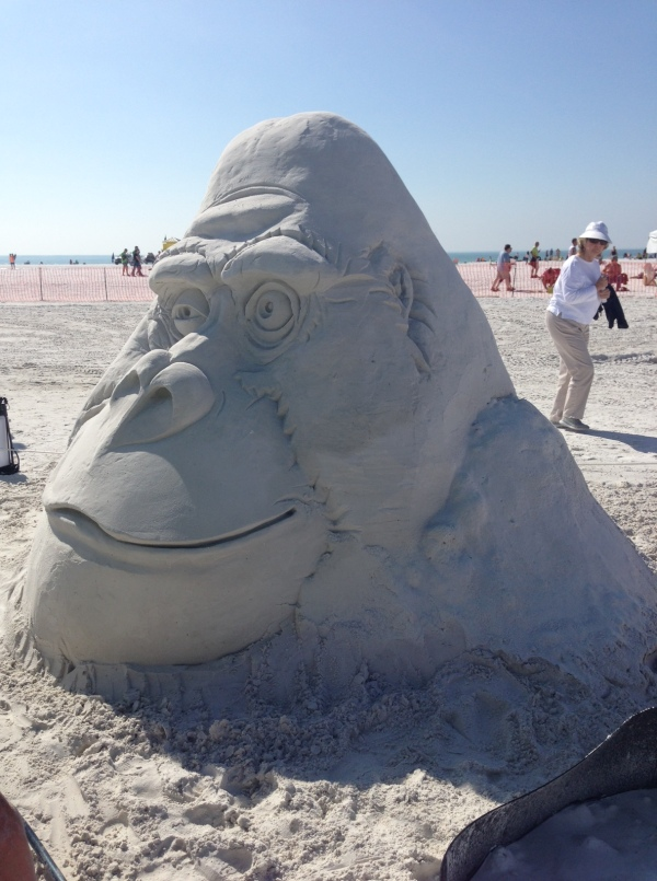 siesta key crystal classic, sand sculptures, sand castles, siesta key beach, crystal classic, florida, vacation, selfie, gorilla