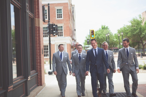 wedding, groomsmen, groom, navy blue suit, springfield illinois wedding, spring wedding, downtown springfield, gray suits,