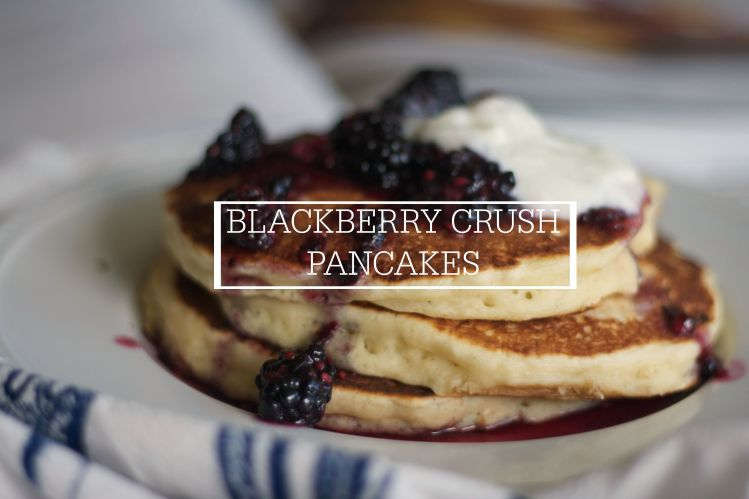 oatmeal yogurt pancakes with blackberry crush, newlywed cookbook, blackberry, breakfast, pancakes, yogurt, brunch,