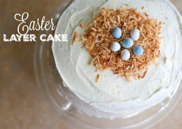 layer cake, easter cake, baking, pastel layer cake, rainbow layer cake, vanilla cake, dessert, Easter, birds nest cake topper, robin eggs, white layer cake
