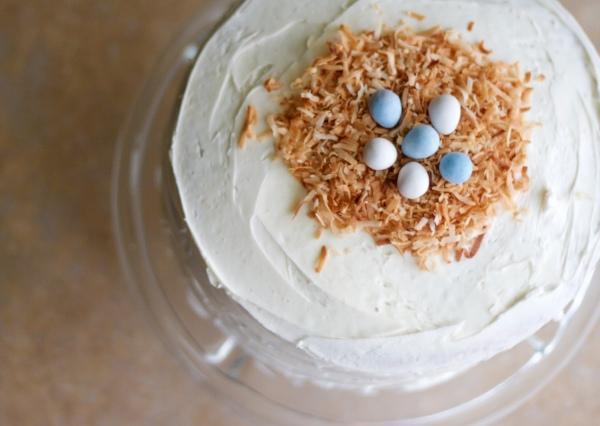 layer cake, easter cake, baking, pastel layer cake, rainbow layer cake, vanilla cake, dessert, Easter, birds nest cake topper, robin eggs, white layer cake