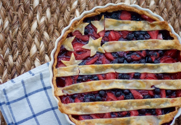 pie, tart, patriotic pie, fourth of july desserts, stars and stripes pie, berry pie, baking, strawberry, blueberry, fourth of july, independence day