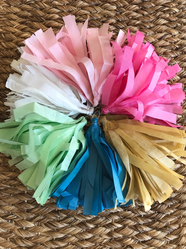 gender neutral tassle garland, gender reveal, tissue banner, tassle garland