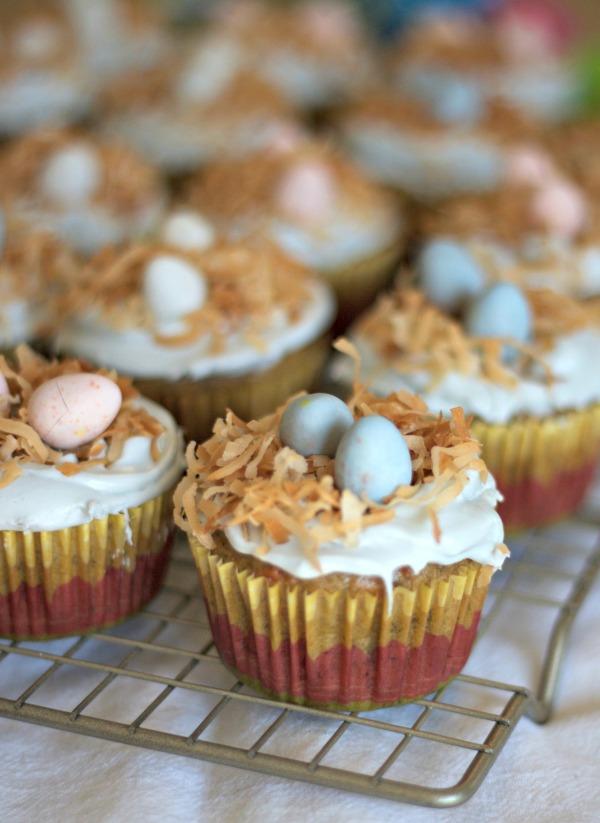 banana carrot cupcakes, easter cupcakes, baby bird's nest cupcakes, coconut, banana, carrot, dessert, baking, holiday, spring, robin egg cupcakes,