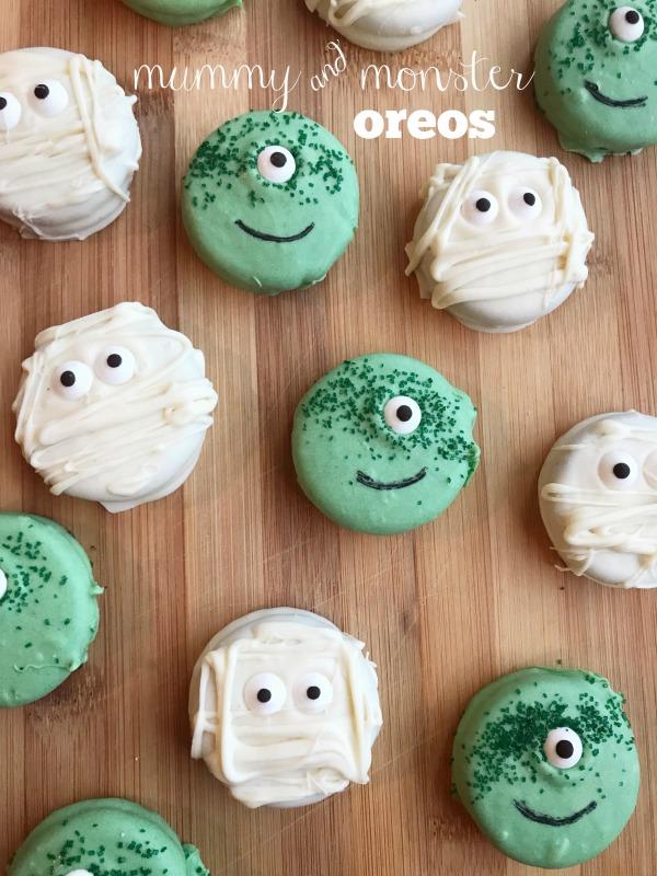 mummy oreo, monster oreo, white chocolate oreos, halloween treats, halloween oreos, baking, dessert, holiday, mummy cookies, monster cookies,