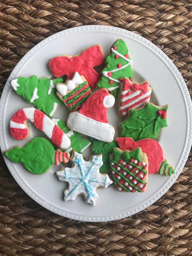 holiday sugar cookies, iced sugar cookies, christmas cookies, baking, dessert, sweets