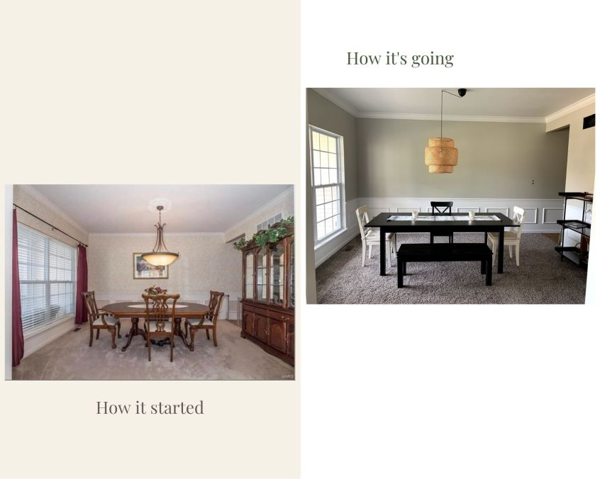 dining room renovation, before and after, DIY, sherwan williams repose gray, makeover